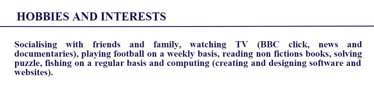 Hobbies and Interests nel Curriculum Vitae